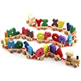 Yosoo Colorful Wooden Alphabet Train Toy Set Kids Educational Toy Alphabetical Assemble Toy Set