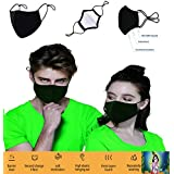 3 Layer Cotton Black Mask Washable, Breathable, Lightweight & Reusable Cover For Adult, Men & Women, Flexible Fit dust Protector, Comfortable & Easy Wear (2)