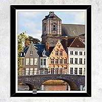 テーマ - レトロな建物,木枠壁画、壁飾り画、版画、壁のポスター、家の装飾、壁の装飾、部屋の装飾(43x33CM)「額縁つき」