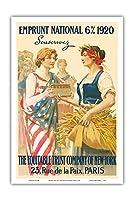 ナショナル・ローン1920 - 購読します - ニューヨーク、パリの公平信託会社 - ビンテージな広告ポスター によって作成された ギラウーム・セイニャック c.1920 - アートポスター - 31cm x 46cm