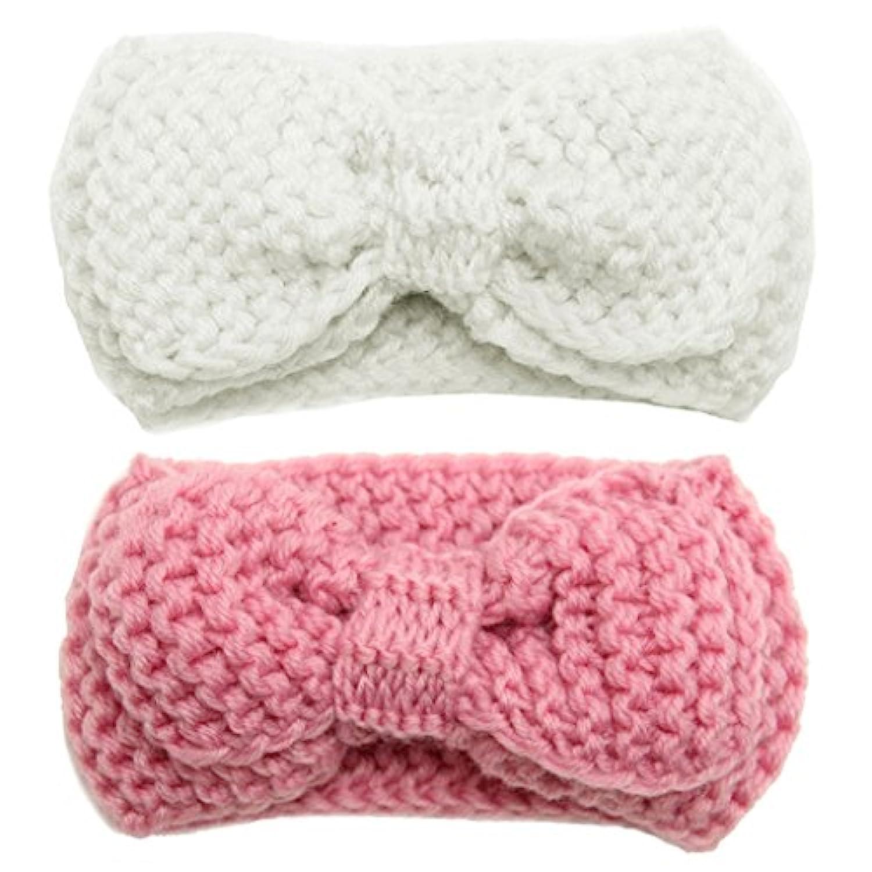 Lovoski 2本 幼児 赤ちゃん 女の子 蝶結び 弾性 かぎ針編み 毛布 ヘッドバンド ヘアバンド 写真道具