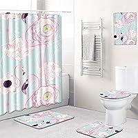 シャワーカーテン 浴室用カーペット 便座クッション シャワーマット ぶら下げ絵画 コンビネーション5ピース 洗濯機で洗えます,E,180CM+45*75CM