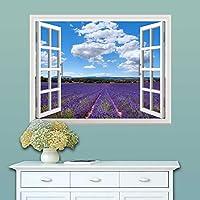 ラベンダー風景 3D 開いた 窓の壁のステッカー装飾 窓壁の壁画 リムーバブルステッカー 室内装飾 (677×508mm) (薰衣草)