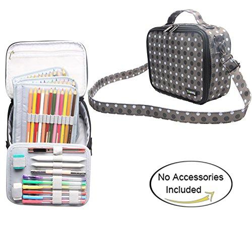 teamoy色鉛筆ケースガジェット、旅行84鉛筆バッグ用ハンドルと肩ストラップ、スタイリッシュで、多目的、Perfectサイズ旅行や毎日の使用 M