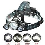 LEDヘッドライト SGODDE 超高輝度 8000ルーメン 充電式 防水仕様 18650電池&充電器付属 3灯式 4段階の点灯モード 登山 夜釣り アウトドア作業 SOSフラッシュ機能