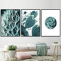 グリーンサボテン北欧ポスターと版画壁アートキャンバス絵画植物キャンバスプリント壁写真用リビングルーム-40x60cmx3 /なしフレーム