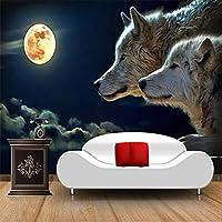 Mingld カスタム大壁画壁紙ムーンライトウルフクラシック漫画写真の壁紙テレビソファ背景フレスコ画3D-280X200Cm
