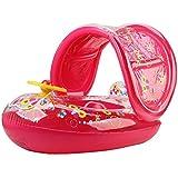 夏の赤ちゃんポータブル子供子供赤ちゃん幼児pvcフロートシートスイムウォーターボートインフレータブル調節可能なサンシェードフロート玩具水泳リング