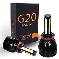 SPE 4-sided LEDヘッドライトキットW/cob-beam電球–80W 8000lm 6000KクールホワイトCREE–1年間保証 H4 (9003) ホワイト LHL-G20-COB-H4