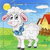 HuaQingPiJu-JP 愛らしい木製動物パズルアーリーラーニングおもちゃファンタスティックギフト子供向け(羊)