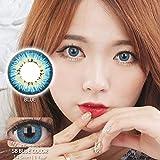 【度なし】韓国カラコン 14.5mm 1年用 2枚入り -0.00 カラーコンタクト 青 ブルー color contact lens 【SB BLUE】