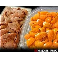生ウニ食べ比べセット えぞバフンうに塩水詰め約100g×1 えぞバフンうに折詰めバラ盛り約100g×1