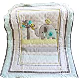 Baby Safari Elephant Crib Bedding - Quilt