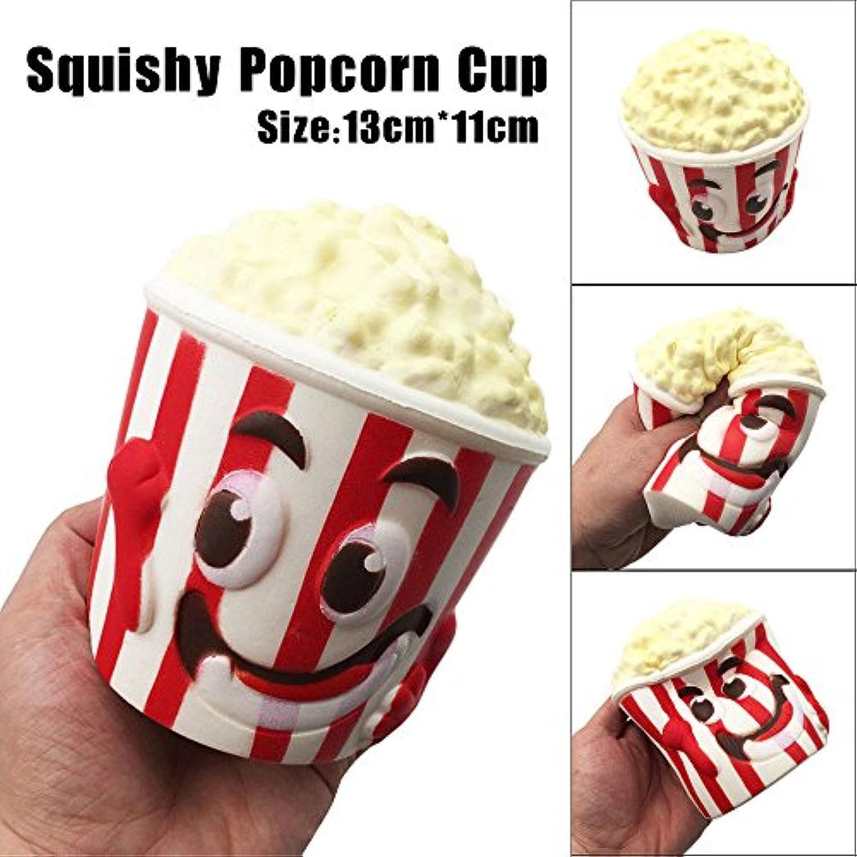 dubaym SquishyチャームStress ReliefおもちゃCute Mini人形ジャンボコレクションホワイト色スーパーBigポップコーンカップ