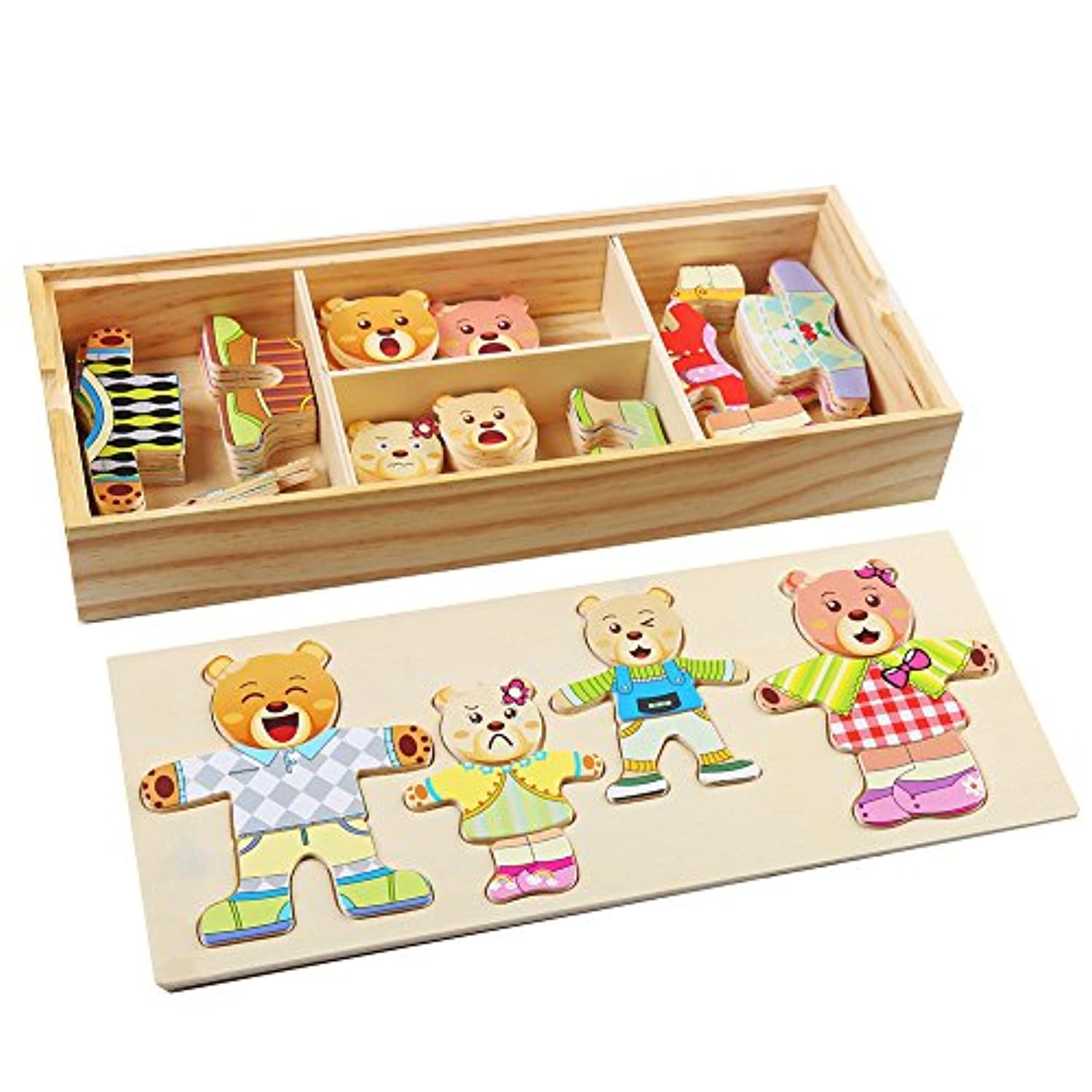 Decora 72 Pieces Cute Wooden Bear FamilyドレスUpパズルゲームwith Storage Case forおもちゃCrafts and pre-school教育