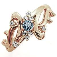 プレジュール アクアマリンサンタマリアリング 結婚記念日 唐草 指輪 トライバルリング K10ピンクゴールド リングサイズ10号