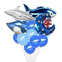 動物バルーン サメ 可愛いシャーク風船 ブルー 海 男の子 子供 100日 半歳一歳 誕生日パーティー飾り 幼稚園 部屋 イベント装飾 24枚セット