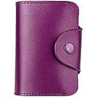 Mini Genuine Leather Credit ID Business Travel Card Holder Pocket Wallet Case Purple