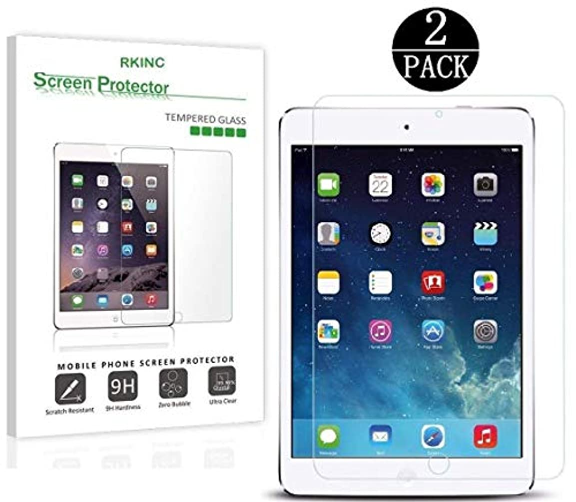 なしで入浴ボイドRKINCスクリーンプロテクター にとってApple iPad Mini 4 、[2パック] 強化ガラスクリアスクリーンプロテクター[9H硬度] [2.5Dラウンドエッジ] [スクラッチレジスト] にとってApple iPad Mini 4