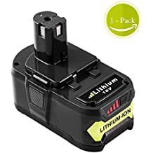 Fhybat 5.0Ah Replace for Ryobi 18V Battery Lithium with Recharge Indicator One Plus P122 P100 P102 P103 P104 P105 P107 P108 Cordless Drill Power Tool Batteries