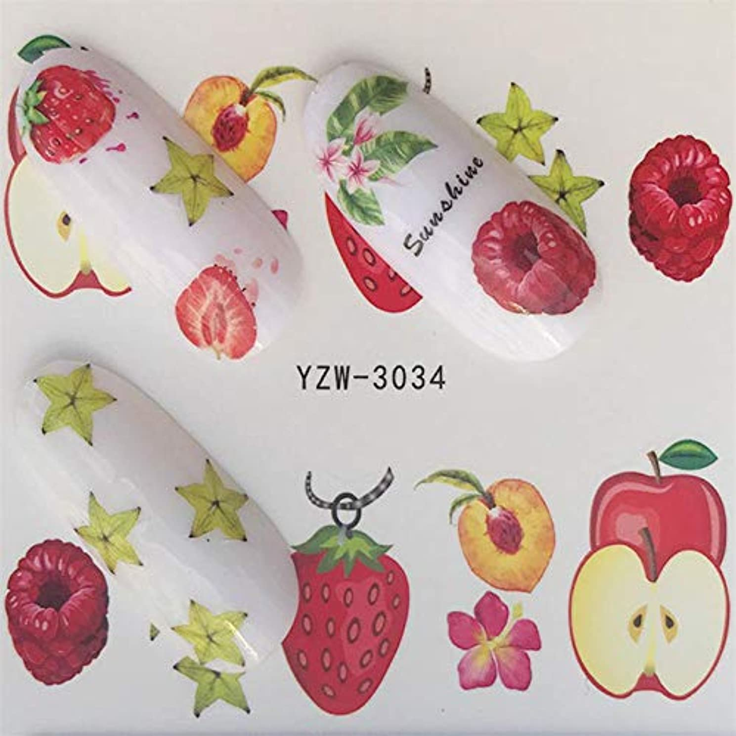 SUKTI&XIAO ネイルステッカー 1ピース漫画フラミンゴ/花/果物水転写ステッカーネイルアートデカールラップヒントマニキュアツール、Yzw-3034