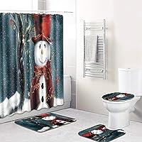 4ピース/セットプリントパターン浴室装飾シャワーカーテン、台座ラグふたトイレカバーマット滑り止めバスマットセット,G,M