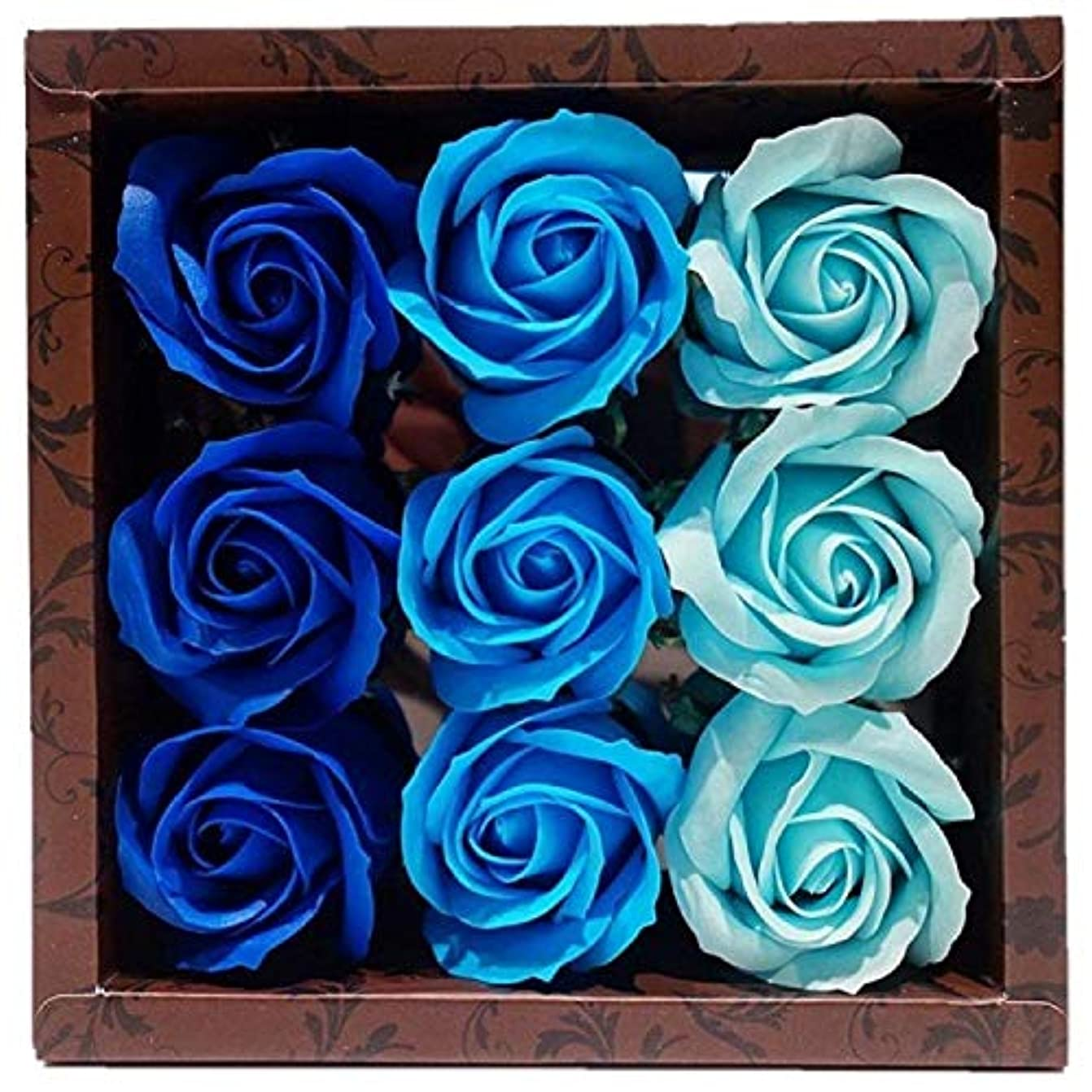 飾り羽流体否認するバスフレグランス バスフラワー ローズフレグランス ブルーカラー ギフト お花の形の入浴剤 ばら