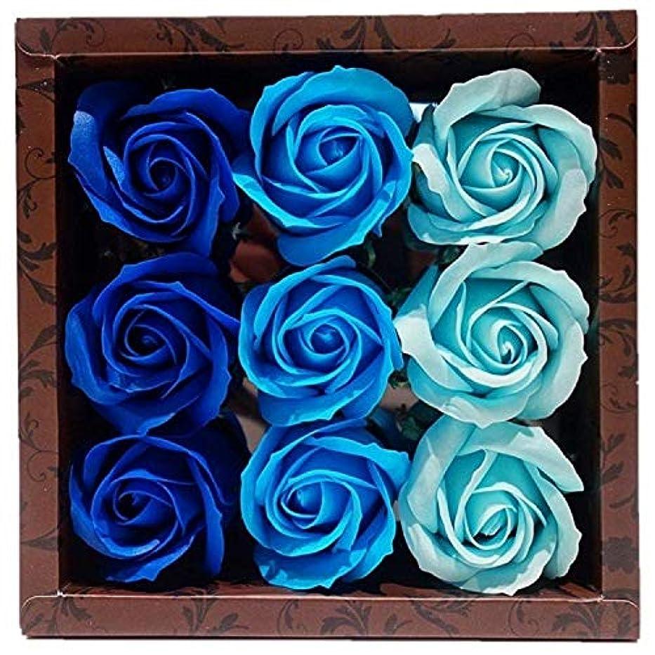 転送輪郭灰バスフレグランス バスフラワー ローズフレグランス ブルーカラー ギフト お花の形の入浴剤 ばら