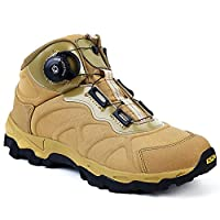 [Minghe] サバゲー トレッキングシューズ ダイヤル式 メンズ 撥水 登山靴 衝撃吸収 ミリタリーブーツ ミドルカット 耐磨耗 防滑 軽量 アウトドアシューズ TAN 27cm