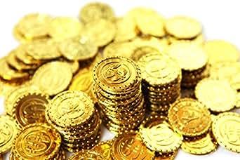 【SCGEHA】宝箱 アンティーク 風 海賊 パイレーツ 財宝 お宝 金貨 秘宝 ゴールド コイン 100枚 (金貨100枚)