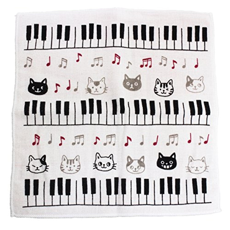 猫のガーゼタオルハンカチ/クロネコと音符/2017/ピアノと鍵盤