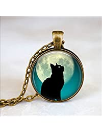 満月の猫のネックレスムーンネックレス一•コガモ満月満月ジュエリーネックレス一