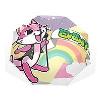 AyuStyle 折りたたみ傘 日傘 狐柄 キツネ フォックス 晴雨兼用 個性的 遮光 遮熱 お出かけ ユニーク 手動開閉 三つ折り傘