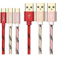 「3本セット1m」TOPK USB Type C ケーブル 【急速充電・高速データ転送対応】ナイロン編組 対応 USB-C タイプC type-cケーブル
