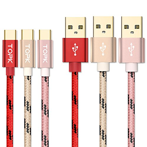 「3本セット1.5m」TOPK USB Type C ケーブル 【急速充電・高速データ転送対応】ナイロン編組 対応 USB-C タイプC type-cケーブル