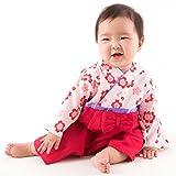 FUN fun (ファンファン) 袴 ロンパース 女の子 赤ちゃん 巫女 レッド 60?70サイズ