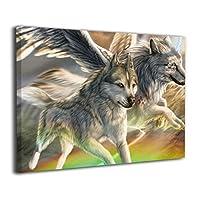 ウルフ 狼 オオカミ 背景絵画 モダンアート キャンバス絵画 部屋飾り お祝いやプレゼントに 絵画 軽くて取り付けやすい (30x20cm)
