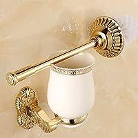 ヨーロッパの金刻められた浴室のトイレブラシ浴室のペンダント創造的なパッケージトイレブラシカップホルダーセット壁掛けlo731551