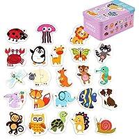 48 個ベビーパズルジグソーパズル 24 パターンベビーおもちゃ早期教育漫画マッチングゲーム子供木製パズルのおもちゃの漫画 Ani学習玩具キッズ