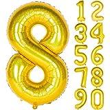Angel&tribe 数字型風船 101.6cm/40インチ ナンバー 0~9 レーザーゴールド 誕生日パーティー飾り付け ヘリウムガス対応 ホイル マイラーバルーン 数字8 レーザーゴールド