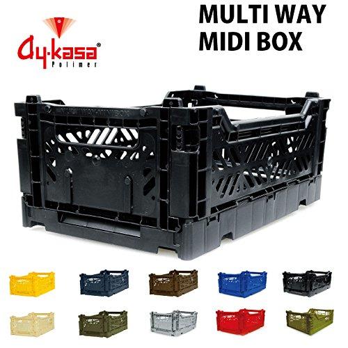 AY-KASA エーワイ カーサ MULTIWAY BOX マルチウェイボックス MIDIBOX 折りたたみコンテナ オリコン フタ無し収納ボックス 収納カゴ コンテナボックス