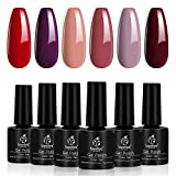 Beetles Burgundy Red Gel Nail Polish Kit - 6 Bottles Pink Nude Sangria Fall Glamour Nail Gel Polish Soak Off UV LED Curing for Manicure Pedicure Christmas Holiday Gift Box