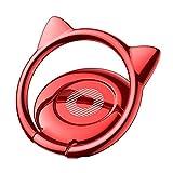 スマホリング 猫耳 薄型 バンカーリング 360度回転 ホールドリング  iPhone Android多機種対応(レッド)