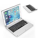 iPad Pro 12.9キーボード - ATiC iPad Pro 12.9専用バックライト機能付き 回転軸式 リチウムバッテリー内蔵 USBケーブル付き ワイヤレス ブルートゥース キーボード(Wireless Bluetooth Keyboard) SILVER