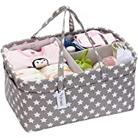HinWO Baby Diaperキャディ3-compartment乳児保育Tote Storage Binポータブル車オーガナイザー新生児シャワーギフトバスケットwith Detachable Divider and...