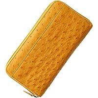 財布 レディース 長財布 オーストリッチ フルポイント ラウンドファスナー : バター