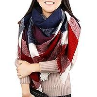 Winter Plaid Scarf Women Men Warm Soft Tartan Large Square Shawl Wrap Oversize