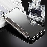 携帯電話ケース for Galaxy J5(2017)(アメリカ版)メッキミラー横型フリップレザーケース(ブラック) バックケースカバー (色 : Silver)