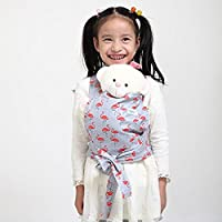 Baby Doll Carrier Mei Tai Sling Toy For Kids Children Toddler Front Back,Mini Carrier Birthday Christmas Gift, (Red Flamingo) …