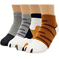 JJMax Women's Cute Kitty Cat Paws Socks with Paw Prints on Toes